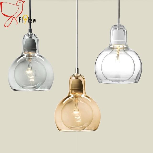 moderne eenvoudige glazen hanglampen 1 3 heads helder/grijs/amber