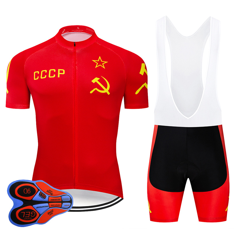 Crossrider 2019 CCCP Cycling Jersey 9D bib Set MTB Red Bike Clothing Breathable Bicycle Clothes Men's Short Maillot Culotte