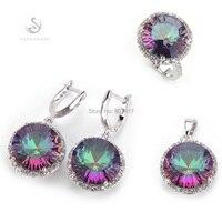 SHUNXUNZ jewelry accessories Rainbow Mystic Stone Silver Plated Punk Bohemia heart set(ring/earring/pendant) 735set size 6 7 8 9