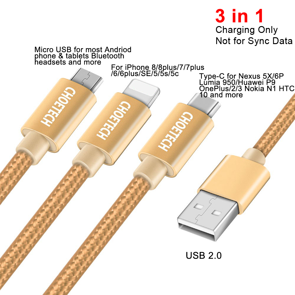 Image 5 - CHOETECH 3 in 1 Mobile Phone Cables For iPhone 8/8 Plus Nylon Braided Micro USB Cable Type C For Samsung S8 S9 Charging Cables-in Mobile Phone Cables from Cellphones & Telecommunications
