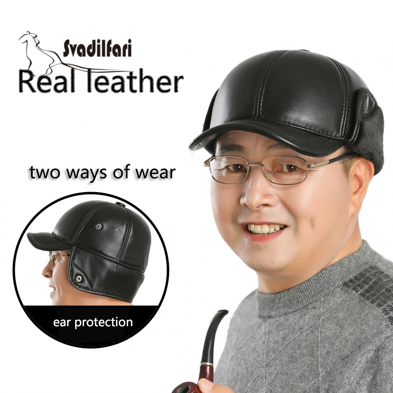 In the old leather hat men warm winter sheepskin baseball cap tab Lei Feng old northeast thick cap leather wool hat middle aged men s winter warm thick sheepskin flat baseball cap winter snapback bone ear protection cap