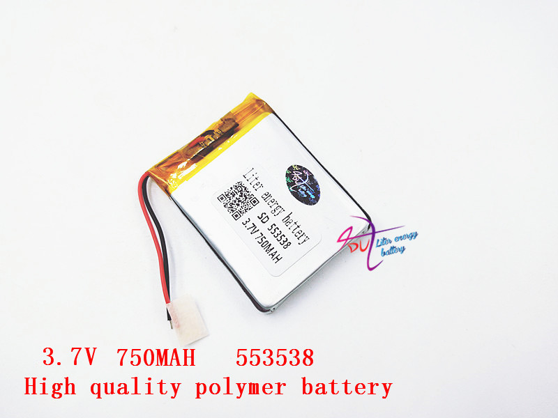 Polymer battery 750 mah 3.7 V 553538 smart home MP3 speakers Li-ion battery for dvr,GPS,mp3,mp4,cell phone,speaker polymer battery 1000 mah 3 7 v 504045 smart home mp3 speakers li ion battery for dvr gps mp3 mp4 cell phone speaker