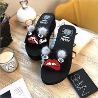 famous designer fur ball and red lips sandals women cartoon eyes platform sandals summer wedges shoes woman flip flops