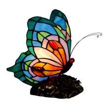 Novelty Tiffanylamp Flower Base Bedside Desk Small Table Lamp Decorative,Modern LED Bulb Butterfly Night Light Kids Baby Bedroom цены