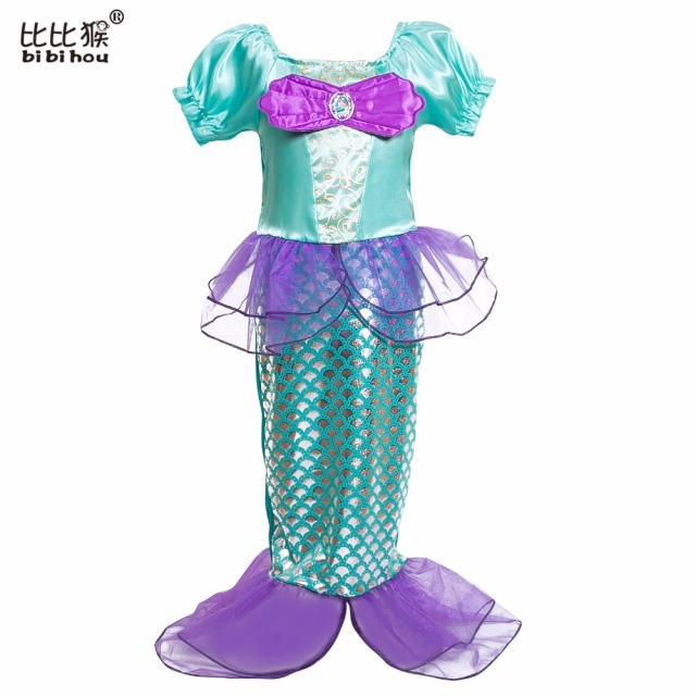 Children Baby Girl Clothes Little Mermaid Fancy Kids Girls Mermaid Dress Princess Ariel Cosplay Halloween Costume girls clothes
