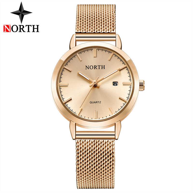 Reloj Mujer NORTH kobiety zegarki luksusowe marki złoty kwarc panie zegarek kobiety moda sukienka bransoletka wodoodporny zegarek dla żony