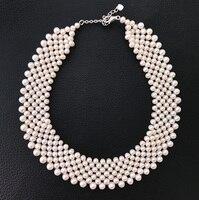Вечные Свадебные Для женщин подарок Слово 925 Стерлинговое Серебро, настоящее Многослойные натуральным пресноводным жемчугом, жемчужное ож