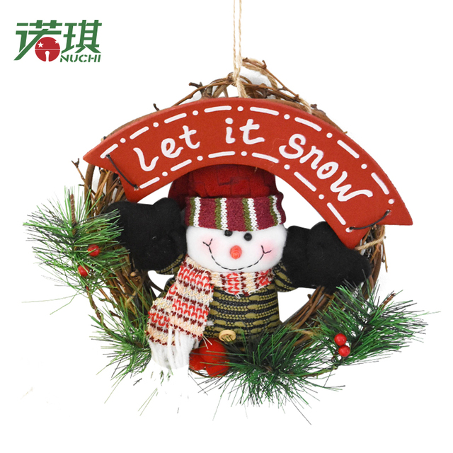 nuchi 20cm plush christmas rattan door decoration doll christmas wreath santa claus christmas snowman hanging ornaments