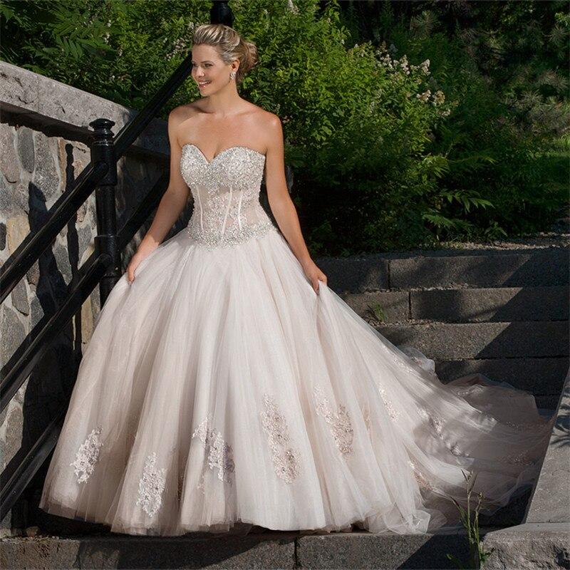 Роскошные Искра бальное платье Свадебные платья Мантия de Mariage Милая Спинки Рукавов Аппликации Vestido де Noiva 2017 F879