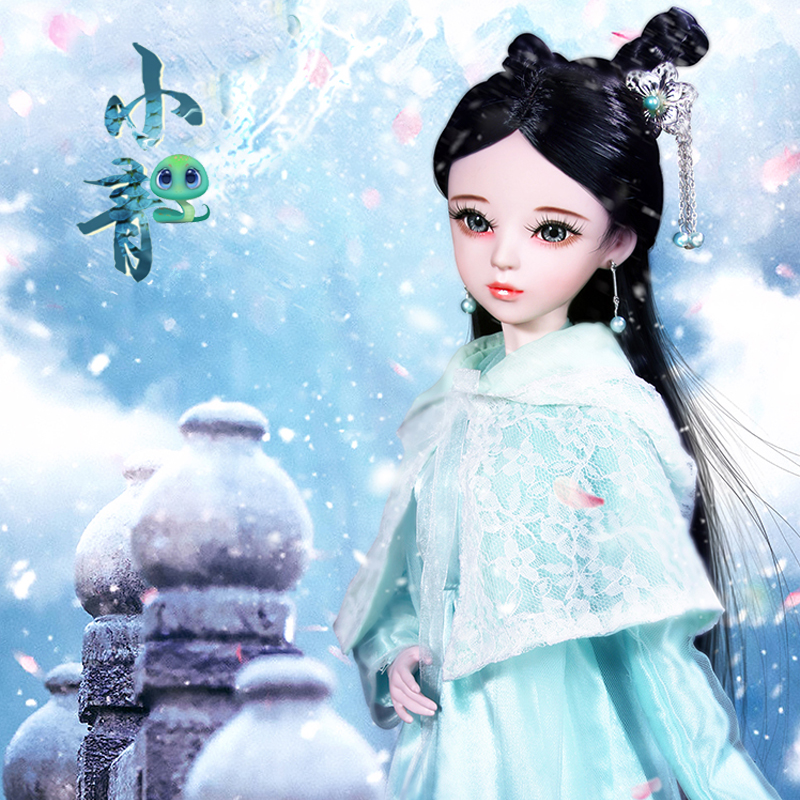 3D real eye Implanted eyelashes girl blue dress 60cm Barbie doll with costume