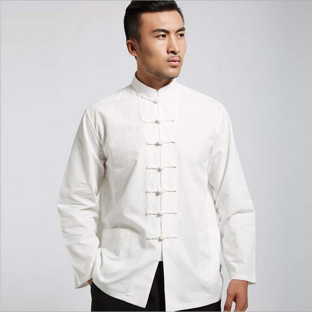 a21fed7944 Spring Autumn Men Pure Cotton Shirt Chinese Style Mandarin Collar Stand  Shirts Long Sleeve White Shirt Imported Clothing