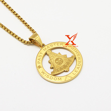 24″ Stainless Steel PAST MASTER LEADERSHIP WISDOM FreeMason Pendant Necklace 3MM Box Chain