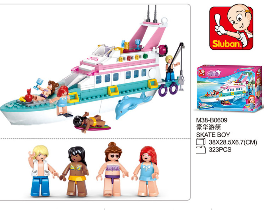 S Model Compatible with Lego B0609 323pcs Girl Dolphin Cruiser Models Building Kits Blocks Toys Hobby Hobbies For Boys Girls s model compatible with lego b0126 577pcs military cruiser sea models building kits blocks toys hobby hobbies for boys girls