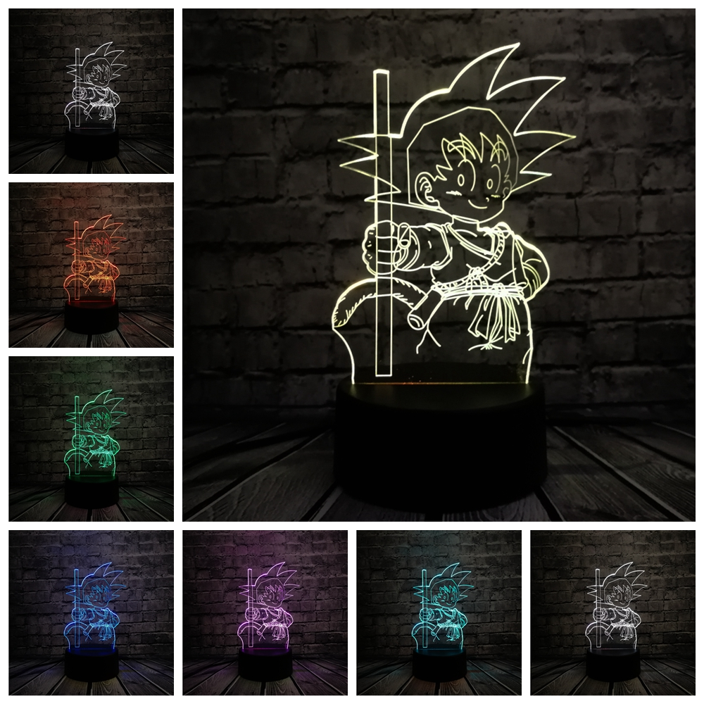 2019 3D Japonia Cartoon Super Goku Monkey USB Lampa LED 7 Dragon Ball - Lampki nocne