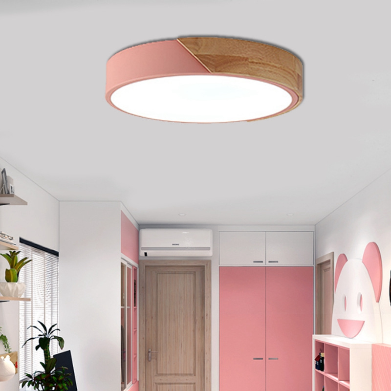 brand new 30b93 3477b US $31.41 18% OFF|LuKLoy LED Flush Mount Ceiling Lights, Dimmable Modern  Colorful Thin Wood Lamp Panel Lighting Fixture for Living Room Bedroom-in  ...