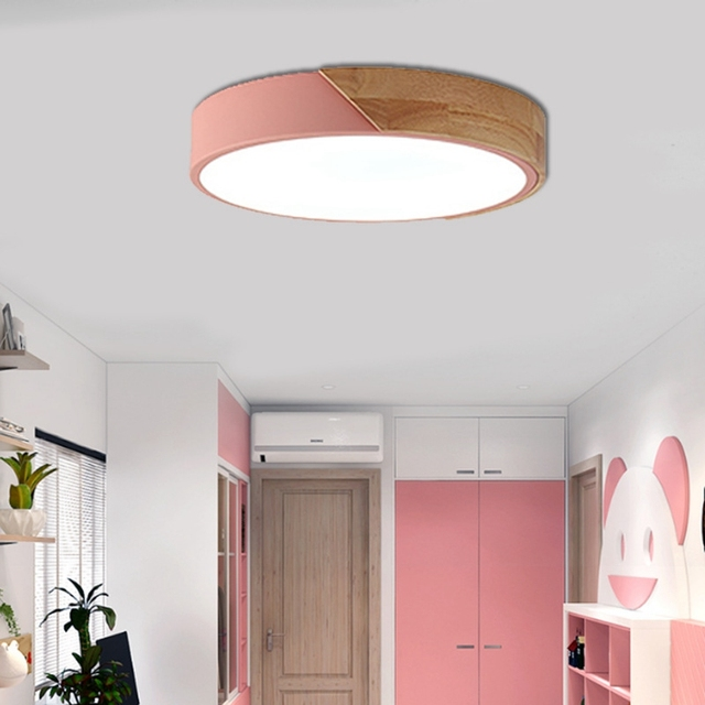 US $32.17 16% OFF|LuKLoy LED Flush Mount Ceiling Lights, Dimmable Modern  Colorful Thin Wood Lamp Panel Lighting Fixture for Living Room Bedroom-in  ...