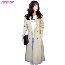 OKXGNZ New Spring Women's Jacket Long Section 2017 Solid Color Women Clothing Basic Coats Double Breasted Costume Long Coat A205
