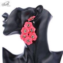 Badu Plastic Sequins Earring Big Statement Flower Pendant Dangle Drop Earrings for Christmas Party Jewelry Gift Women
