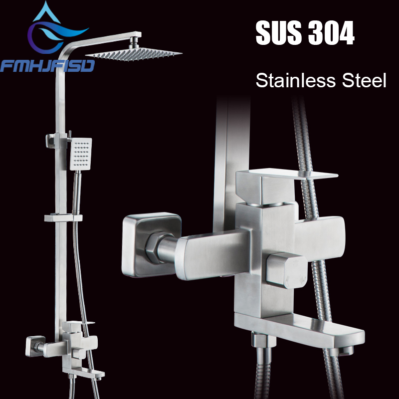 SUS304 Stainless Steel Bath Shower Faucets Single Handle Stainless Steel Shower Head Hand Shower Mixer Water