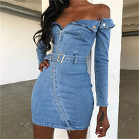 Elegant Fashion Bodycon Belted Denim Dresses Women Long Sleeve Off Shoulder Jeans Mini Dress Female 2018 Casual Blue Vestidos