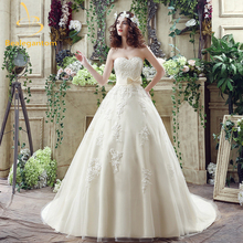 Bealegantom 2017 New Light Champagne Wedding Dresses With Tulle Appliques Bridal Gowns Robe De Mariage In Stock 2-14 QA827