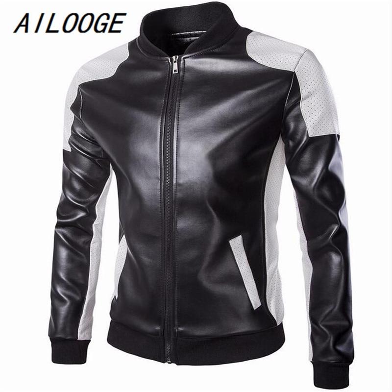 AILOOGE 2016New Lether Jackets Men Black White Winther Leather Jaquetas Jackets Coat Men Men's Winter Leather Suede large Jacket