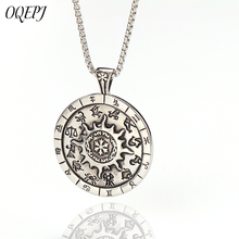 OQEPJ Vintage Round Sun Star Compass 12 Constellation Necklace Pendant Stainless Steel Men necklaces Charm Good Luck Jewelry