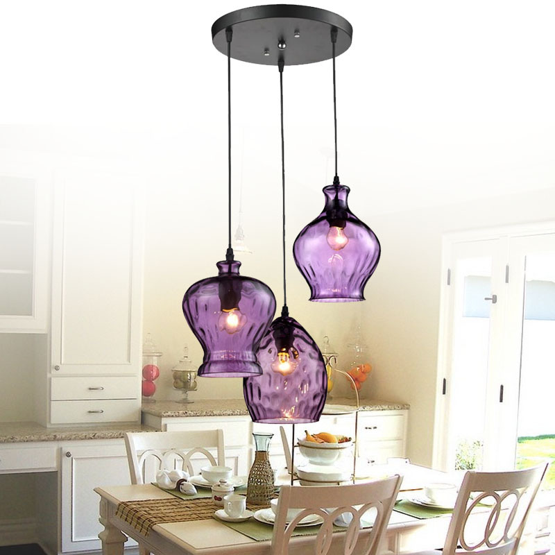 Living Room Lamp Shades: Modern Stainde Glass Pendant Light Fixtures Purple Wine