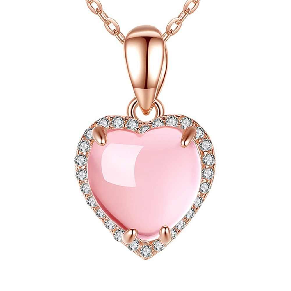 MOONROCY Rose Gold Color Ross Quartz CZ Pink Opal Chokers Jewelry Necklace Heart for Women Girls Gift Wholesale Dropshipping