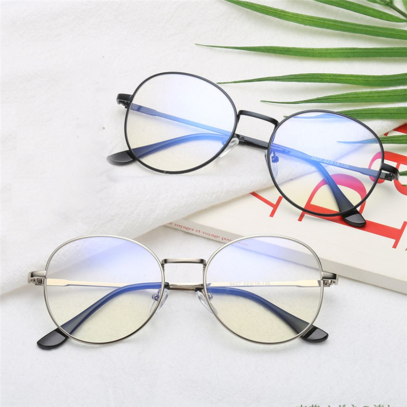 Metal Unisex Computer Round Circle Frame Glasses Women Rays Radiation Eyewear Frame Anti Blue Light Reading Glasses