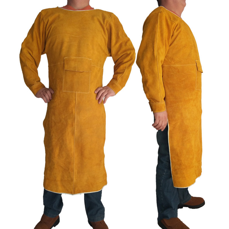 Welding Apron Flame Retardant Long Sleeve Welder Protective Clothing Split Leather Fireproof Wear-resistant Anti-scalding ApronsWelding Apron Flame Retardant Long Sleeve Welder Protective Clothing Split Leather Fireproof Wear-resistant Anti-scalding Aprons