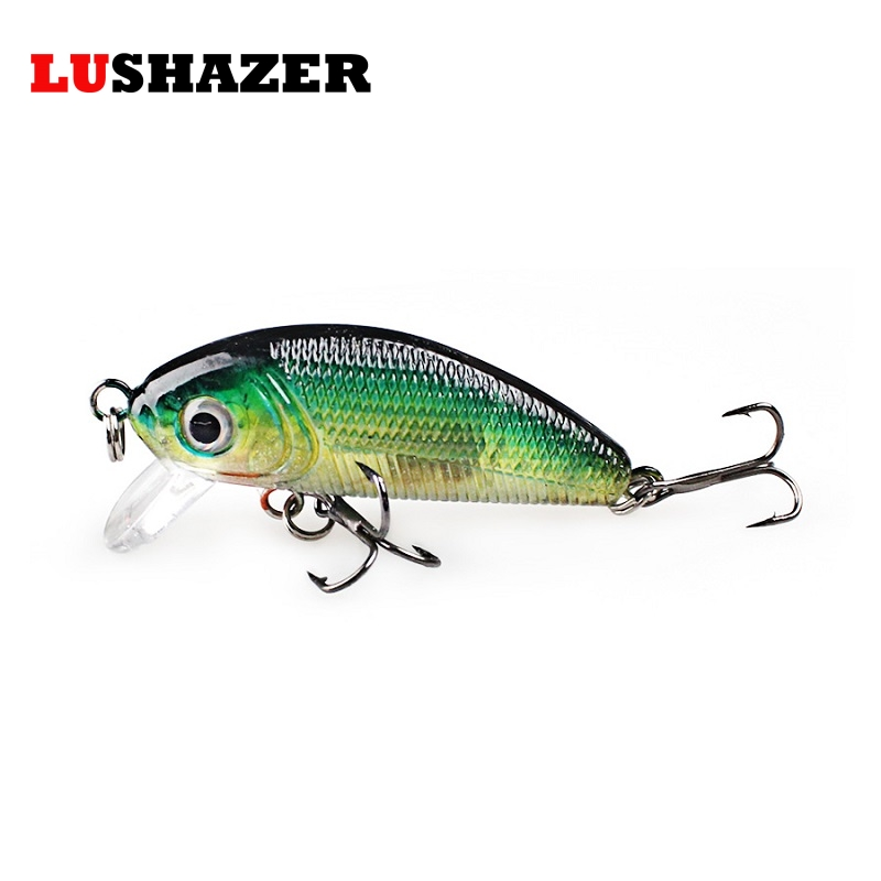 LUSHAZER Minnow Fishing Lures minnow lure bait 4.5cm 4.8g carp fishing isca artificial bass lure fishing tackle Hard Bait 1pcs fishing lure bait minnow with treble hook isca artificial bass fishing tackle sea japan fishing lure 3d eyes