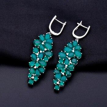 Gem's Ballet 21.12Ct Natural Green Agate Earrings 925 Sterling Silver Gemstone Drop Earrings for Women Wedding Fine Jewelry