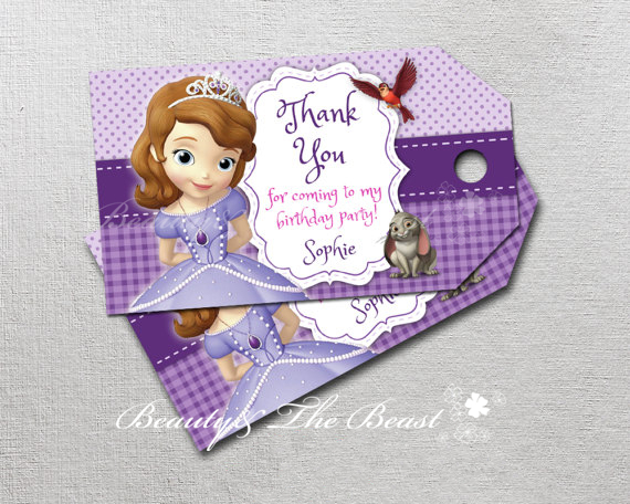 Personalized Sofia The First Thank You Tags Sophia Gift Favors Tags