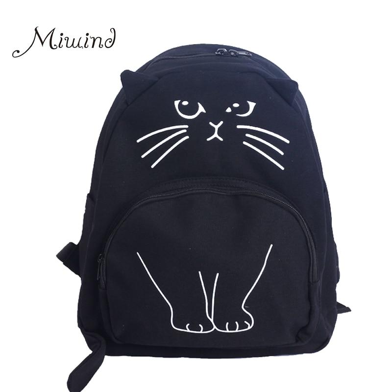 2017 Cute Designer Harajuku Printing Cat Ear Black White Canvas Backpack Women School Notebook Bag Teens