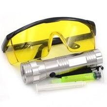 Gzhengtong peças de automóvel ac uv lanterna r134a r12 carro fluorescente óleo vazamento óculos automotivo 14 led ferramenta sliver cor teste kit