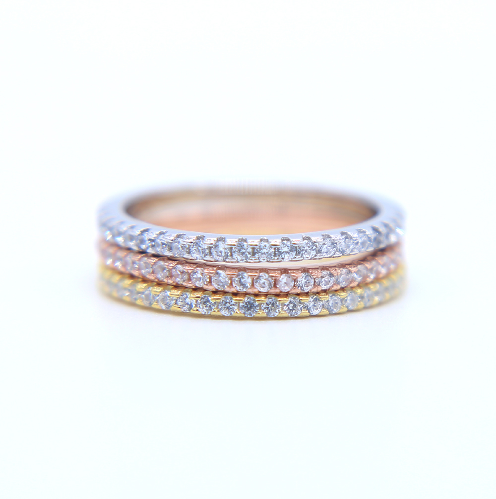 Real Authentic 925 Sterling Silver Stackable Engagement Rings With Clear CZ For Women Fine Jewelry
