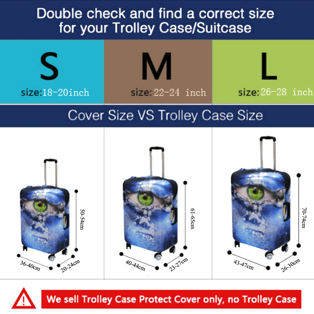 FORUDESIGNS Black Camera Printing Cute Luggage Cover Elastic Travel Suitcase Cover Personalized Portable Trunk Case Cover Zipper
