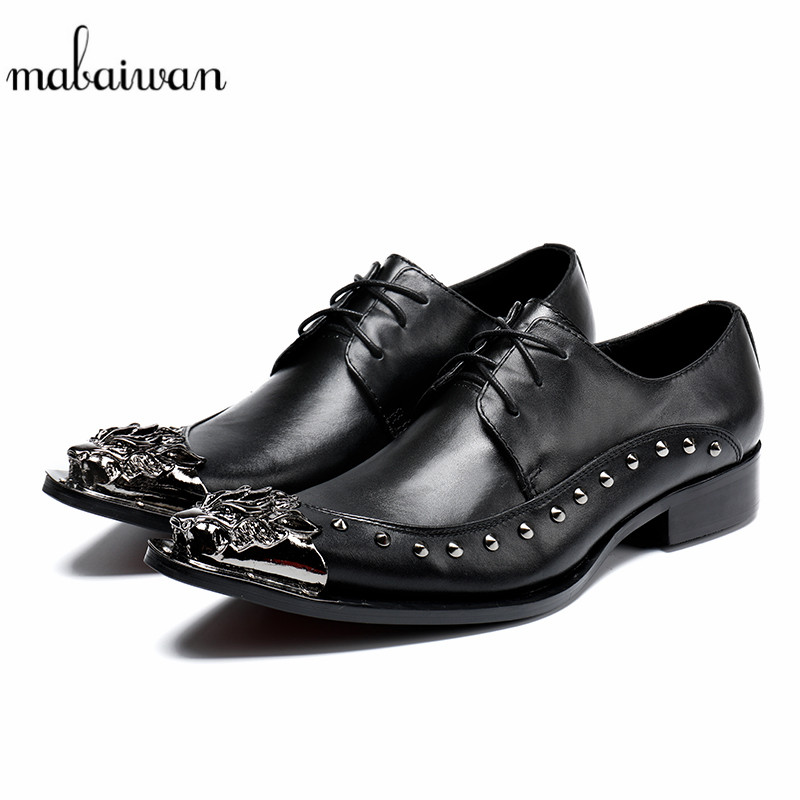Mabaiwan New Formal Black Men Shoes Lace Up Rivets Slipper Party Wedding Dress Casual Shoes Men Metal Toe Genuine Leather Flats mabaiwan black genuine leather men shoes dress wedding male brogue shoes men lace up oxfords prom slipper business formal flats