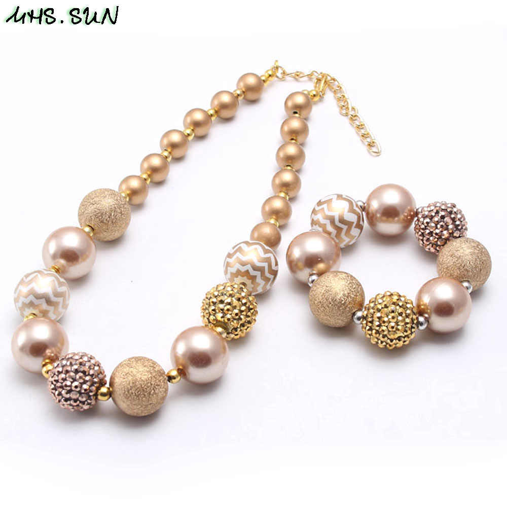MHS.SUN Gold Pearl Rhinestone Beads Necklace Bracelets Kids/Girls/Child Chunky Bubblegum Jewelry Set Fashion Birthday Gift