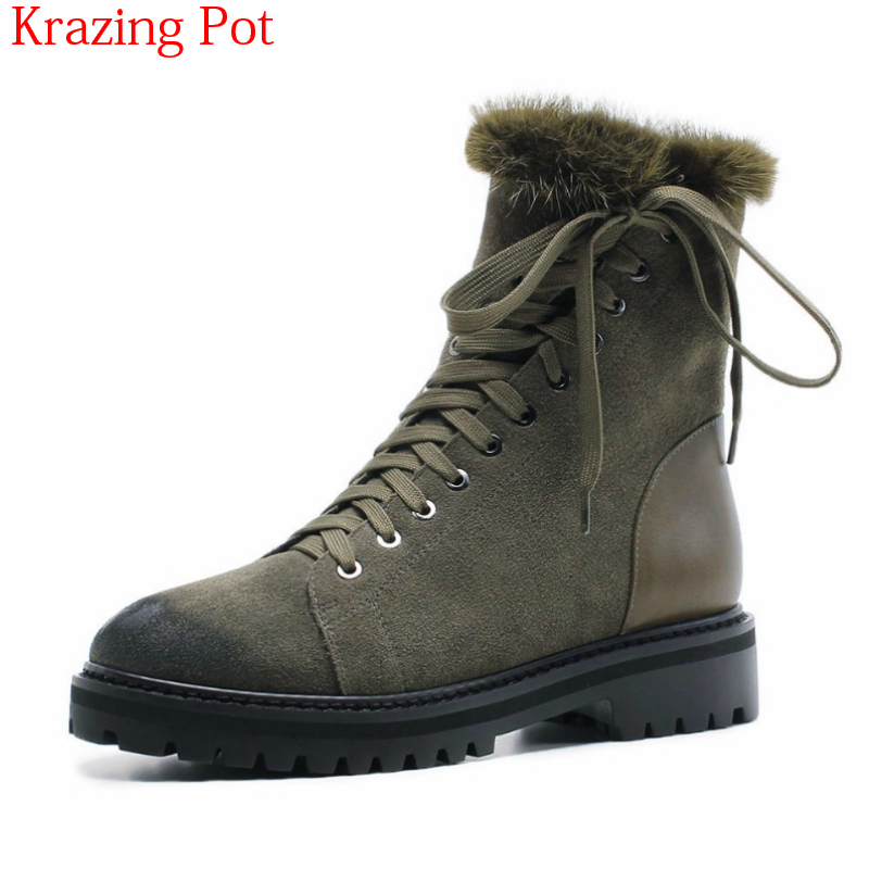 цена 2018 Cow Suede Fur Wool Round Toe Winter Shoes Office Lady Luxury Lace Up Snow Boots Vintage Women Motorcycle Ankle Boots L92 в интернет-магазинах