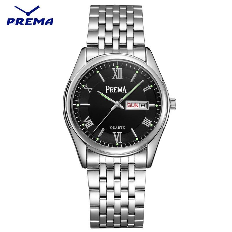 Watch Men PREMA Quartz Reloj Hombre Stainless Steel Watch Band Roman Numeral Big Dial Calendar Display Relogio Masculino reloj hombre wishdoit quartz watch men