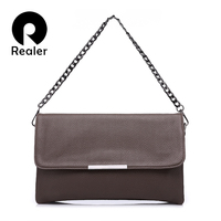 REALER Fashion Women Handbag Solid Lady Day Clutches New Fashion Soft Packet Fashion Female Casual Bags