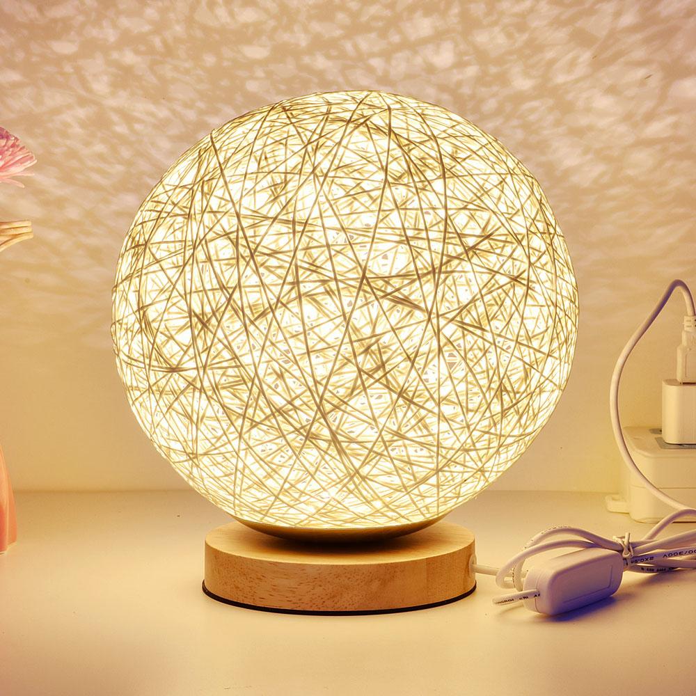 Wicker Rattan Ball Schreibtisch Tischlampe Durchmesser 20 Cm Takraw Nachtlicht Fr Schlafzimmer Wohnzimmer Usb Stecker