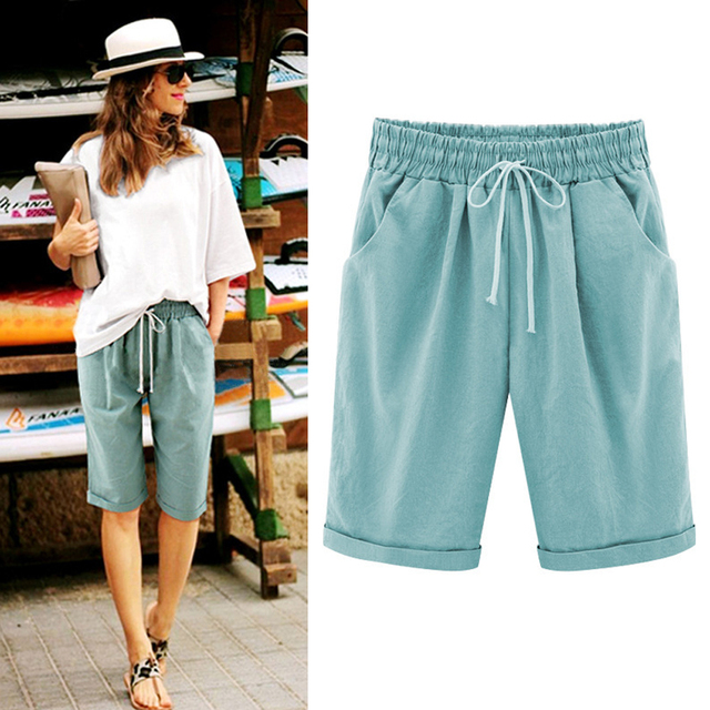 Oversized Women Summer Cotton linen Shorts Casual Ladies Drawstring Elastic Loose Short Trousers Plus Size S-8XL WDC2019 2
