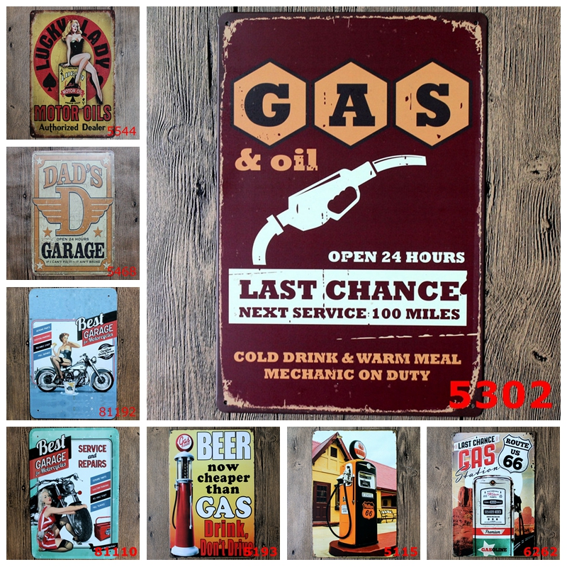 Dad's Garage Open 24 Hours Metal Tin Signs Route 66 Motor