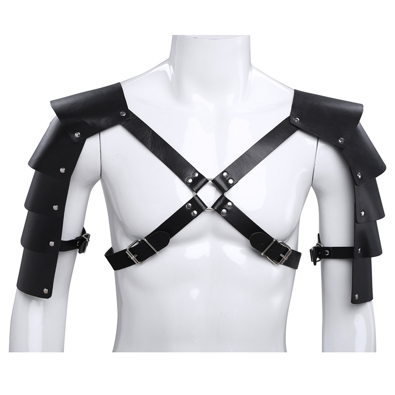 iEFiEL Sexy Men Lingerie Faux Leather Adjustable Body Chest Harness Bondage Costume with Shoulder Armors Buckles Tights Zentai