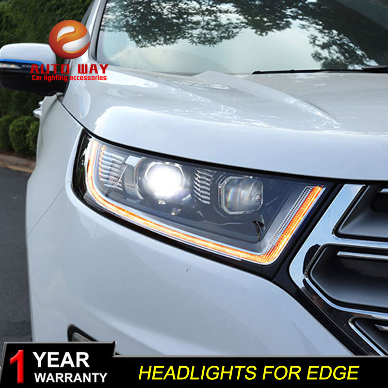 Car Styling Head Lámpara para Ford Edge 2015-2018 Faros LED Faro DRL Lente Doble haz Bi-Xenon HID Accesorios para automóvil