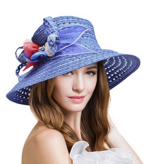 Signore Cappello di paglia Cappello kentucky Derby cappelli Delle Donne  Solido Floreale Cappelli da Sole Femminile dcef9dc767f9