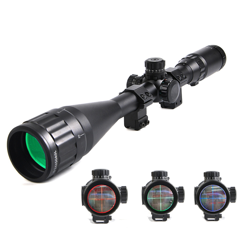 Optical Sight  6-24X50 Riflescope Hunting Red/Green/Blue Illuminated Mil Dot Locking Resetting Rifle Scope For Hunting